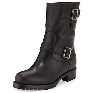 Authentic Prada Calf Leather Moto Boots